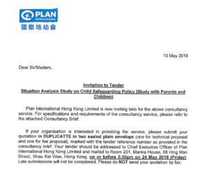 Plan International Hong Kong CSP Research tender cover - Plan